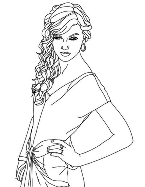 Taylor Swift, : Lovely Taylor Swift Coloring Page