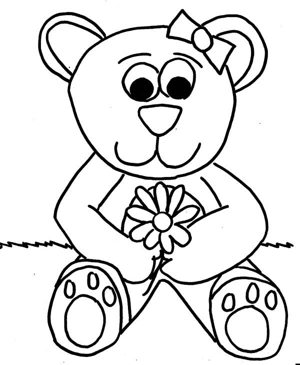 Teddy Bear, : Lovely Teddy Bear Coloring Page