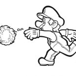 Mario Brothers, Mario Awesome Weapon Fire Ball In Mario Brothers Coloring Page: Mario Awesome Weapon Fire Ball in Mario Brothers Coloring Page