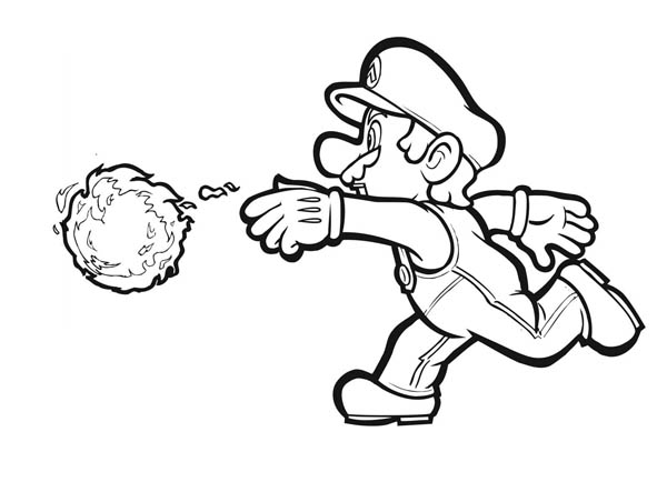 Mario Brothers, : Mario Awesome Weapon Fire Ball in Mario Brothers Coloring Page