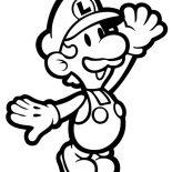 Mario Brothers, Mario Little Brother Luigi In Mario Brothers Coloring Page: Mario Little Brother Luigi in Mario Brothers Coloring Page