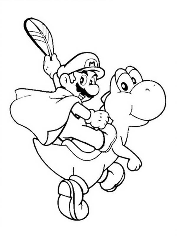 Mario Brothers, : Mario Ride Little Dinosaurus in Mario Brothers Coloring Page