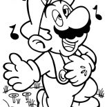 Mario Brothers, Mario Singing Melancoly In Mario Brothers Coloring Page: Mario Singing Melancoly in Mario Brothers Coloring Page