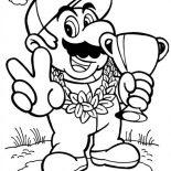 Mario Brothers, Mario Win Title Race In Mario Brothers Coloring Page: Mario Win Title Race in Mario Brothers Coloring Page