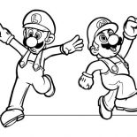 Mario Brothers, Mario And Luigi Dancing In Mario Brothers Coloring Page: Mario and Luigi Dancing in Mario Brothers Coloring Page