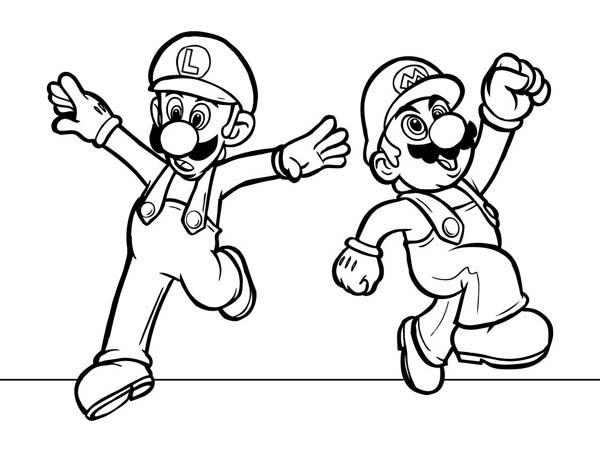 Mario Brothers, : Mario and Luigi Dancing in Mario Brothers Coloring Page
