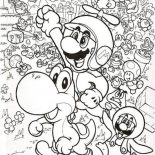 Mario Brothers, Mario And Luigi Fly With Little Dragon In Mario Brothers Coloring Page: Mario and Luigi Fly with Little Dragon in Mario Brothers Coloring Page