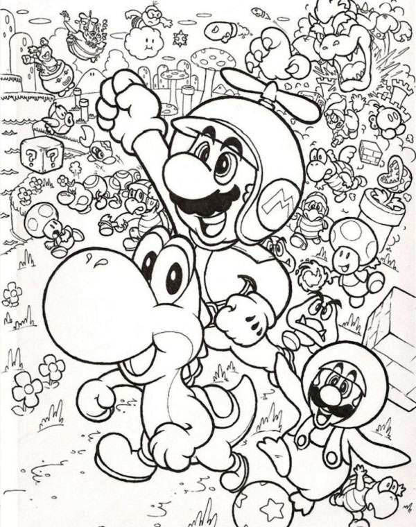 Mario Brothers, : Mario and Luigi Fly with Little Dragon in Mario Brothers Coloring Page