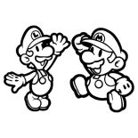 Mario Brothers, Mario And Luigi High Five In Mario Brothers Coloring Page: Mario and Luigi High Five in Mario Brothers Coloring Page