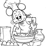Mickey Mouse, Mickey Mouse Cooking Coloring Page: Mickey Mouse Cooking Coloring Page