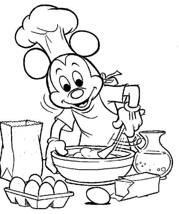 Mickey Mouse, : Mickey Mouse Cooking Coloring Page
