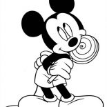 Mickey Mouse, Mickey Mouse Eat Lollipop Coloring Page: Mickey Mouse Eat Lollipop Coloring Page