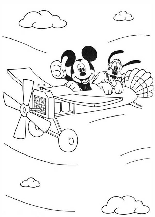 Mickey Mouse Flying On Plane With Pluto Coloring Page ...