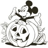 Mickey Mouse, Mickey Mouse Inside Halloween Pumpkin Coloring Page: Mickey Mouse Inside Halloween Pumpkin Coloring Page