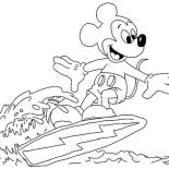 Mickey Mouse, Mickey Mouse Surfing On The Wave Coloring Page: Mickey Mouse Surfing on the Wave Coloring Page