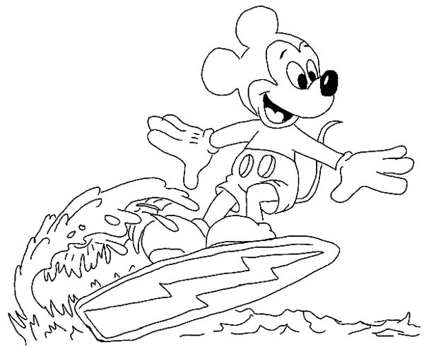 Mickey Mouse, : Mickey Mouse Surfing on the Wave Coloring Page