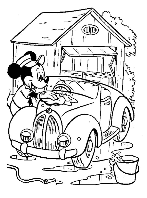 Mickey Mouse, : Mickey Mouse Washing Car Coloring Page