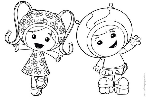 Team Umizoomi, : Milli and Geo say Hi in Team Umizoomi Coloring Page