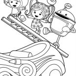 Team Umizoomi, Milli And Geo With Bot Climb With Ladder In Team Umizoomi Coloring Page: Milli and Geo with Bot Climb with Ladder in Team Umizoomi Coloring Page