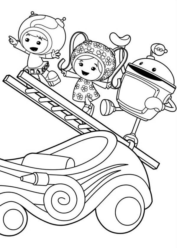 Team Umizoomi, : Milli and Geo with Bot Climb with Ladder in Team Umizoomi Coloring Page