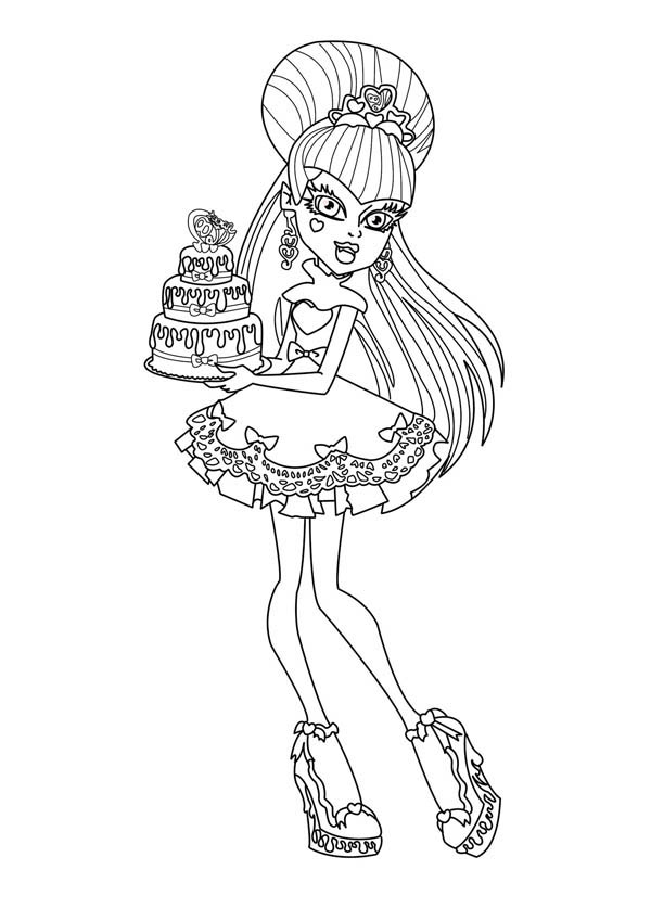 Monster High, : Monster High Character Bring Birthday Cake Coloring Page