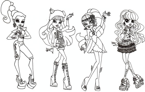 Monster High, : Monster High Characters Dolls Coloring Page