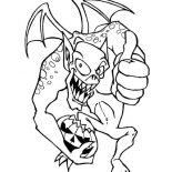 Monsters, Monster Of Halloween With Pumpkin Coloring Page: Monster of Halloween with Pumpkin Coloring Page
