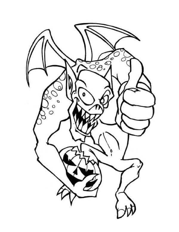Monster Of Halloween With Pumpkin Coloring Page Color Luna