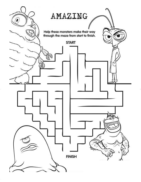 Monsters vs Aliens, : Monster vs Aliens Maze Coloring Page