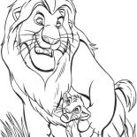 Lion, Mufasa Give Simba Advise In The Lion King Coloring Page: Mufasa Give Simba Advise in the Lion King Coloring Page