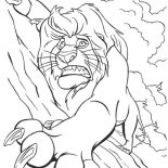 Lion, Mufasa Holding Tight On The Rock In The Lion King Coloring Page: Mufasa Holding Tight on the Rock in the Lion King Coloring Page