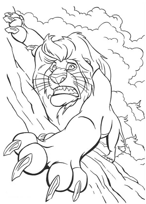 Lion, : Mufasa Holding Tight on the Rock in the Lion King Coloring Page