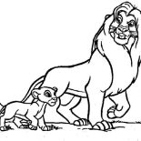 Lion, Mufasa Take Simba Walking Around In The Lion King Coloring Page: Mufasa Take Simba Walking Around in the Lion King Coloring Page