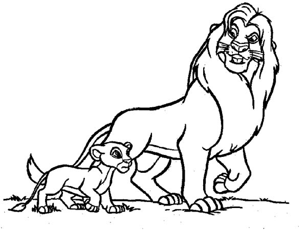 Mufasa Take Simba Walking Around In The Lion King Coloring Page Color Luna