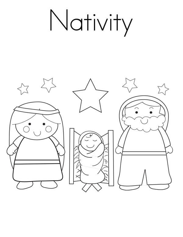 Nativity, : Nativity Coloring Page for Kids