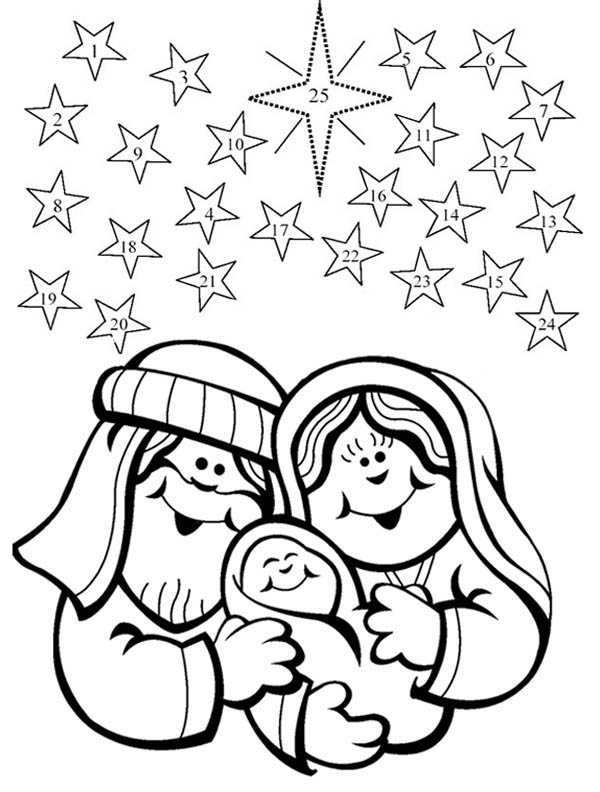 Nativity, : Nativity Happen in  December 25 Coloring Page