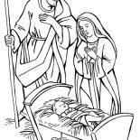 Nativity, Nativity Jesus Born Scene Coloring Page: Nativity Jesus Born Scene Coloring Page