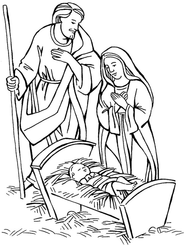 Nativity Jesus Born Scene Coloring Page Color Luna