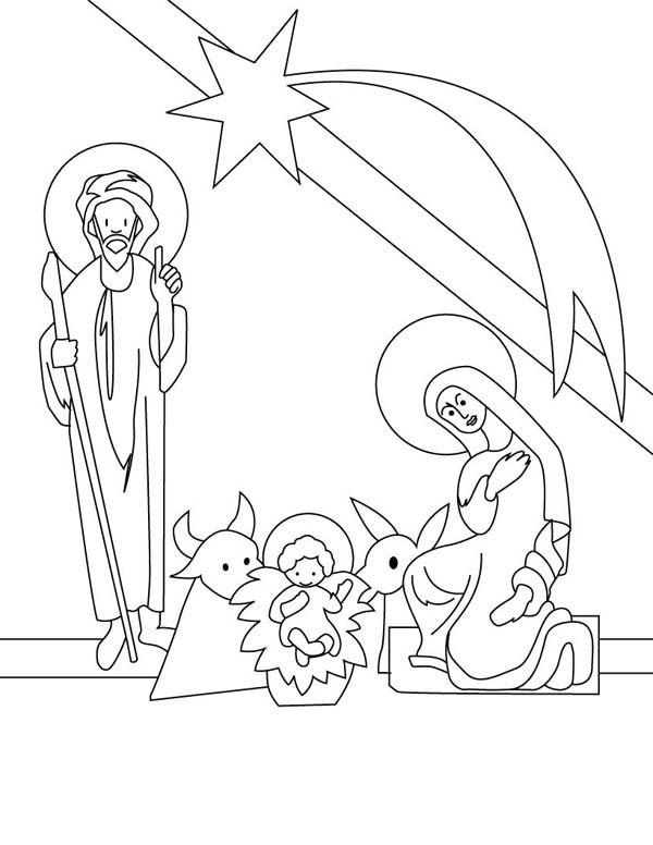 Nativity, : Nativity Outline Picture Coloring Page