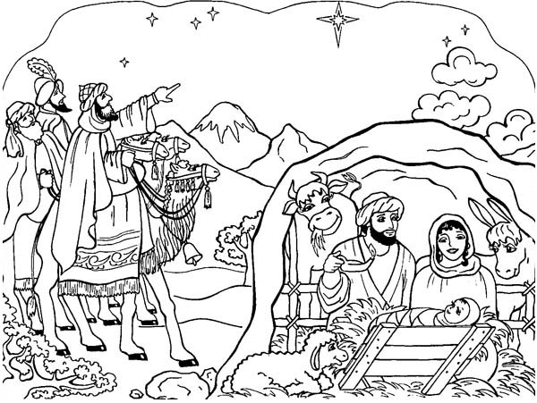 Nativity, : Nativity Scene Coloring Page