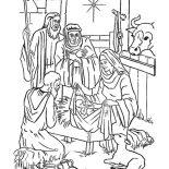 Nativity, Nativity Of Jesus And Star Of Bethlehem Coloring Page: Nativity of Jesus and Star of Bethlehem Coloring Page