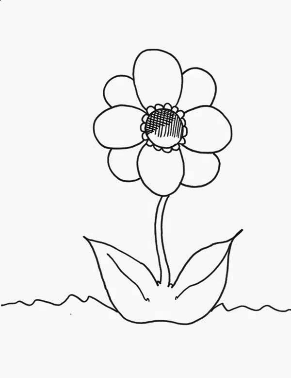 Spring Flower, : One Fancy Spring Flower Coloring Page
