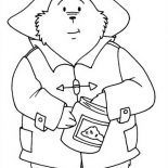 Paddington Bear, Paddington Bear Eat Honey From Honey Jar Coloring Page: Paddington Bear Eat Honey from Honey Jar Coloring Page