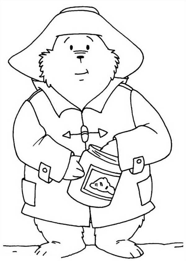 Paddington Bear, : Paddington Bear Eat Honey from Honey Jar Coloring Page