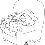 Paddington Bear, Paddington Bear Eating Sandwich Coloring Page: Paddington Bear Eating Sandwich Coloring Page