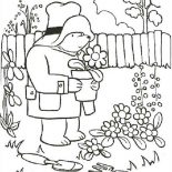Paddington Bear, Paddington Bear Gardening Coloring Page: Paddington Bear Gardening Coloring Page