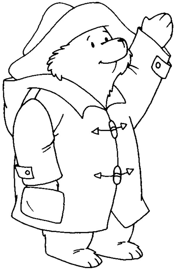 Paddington Bear, : Paddington Bear Greeting Someone Coloring Page