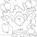 Paddington Bear, Paddington Bear Having Birthday Party Coloring Page: Paddington Bear Having Birthday Party Coloring Page