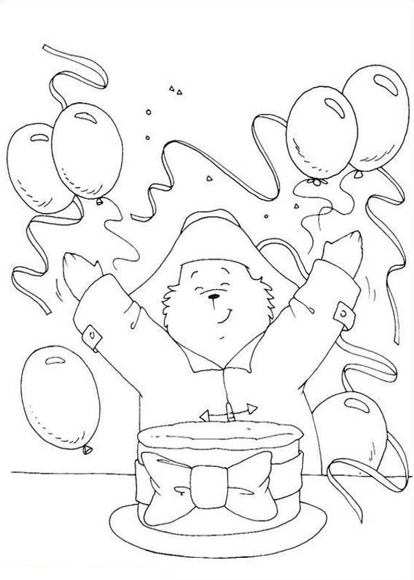 Paddington Bear, : Paddington Bear Having Birthday Party Coloring Page