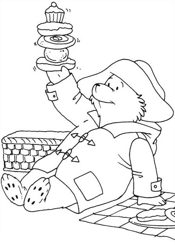 Paddington Bear, : Paddington Bear Holding Stack of Cookies Coloring Page